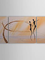 Peint à la main Abstrait / Personnage Trois Panneaux Toile Peinture à l'huile Hang-peint For Décoration d'intérieur