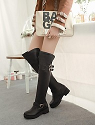 Women's Shoes Round Toe Chunky Heel Over The Knee Boots with Buckle