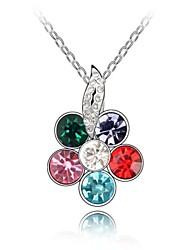 sussurro de flor colar curto revestida com 18k platina verdade cores misturadas cristalizado strass cristal austríaco