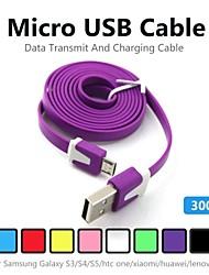 3m v8 Micro USB кабель для передачи данных с лапшой для Samsung Galaxy S5 / S4 / S3 / S2 и HTC / Nokia / Sony / LG (ассорти цветов)