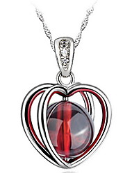 Couples' Silver Water Wave Necklace With Garnet