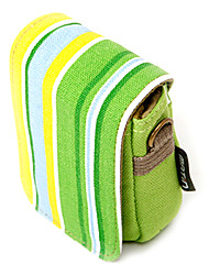 Colorful Stripe Canvas Digital Camera Bag with Shoulder&Waist Strap[Green]