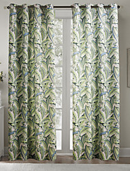 Philips Young - (Two Panels) Contemporary Country Fresh Style Green Leaves Pattern Curtain