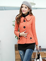 Women's Single Breasted Long Sleeve Wool Coat(More Colors)