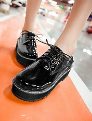Women's Shoes Round Toe Platform Patent Leather Oxfords with Lace-up Shoes More Colors available