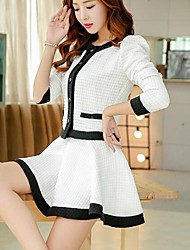 Women's Fashion Elegant Long Sleeve Slim Suits (Coat & Skirt)