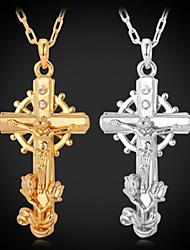 unisex grande fresco jesus cruz colar 18k pingente de platina banhado a ouro de cristal strass