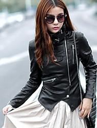 colarinho fino casaco jaqueta de couro pu das mulheres