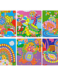 6PCS EVA Dot Mosaic 3D Stickers Children Hand DIY Puzzle Animal World Toys
