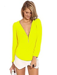 Women's Casual/Daily Sexy / Simple Fall Blouse,Solid Deep V Long Sleeve Black / Yellow Thin