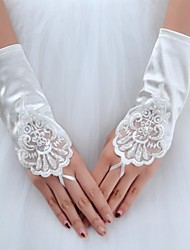 Wrist Length Glove Elastic Satin Bridal Gloves