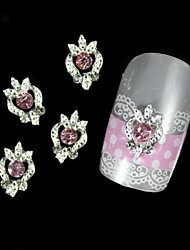 10pcs Pink Rhinestone Silver DIY Alloy Nail Art Decoration