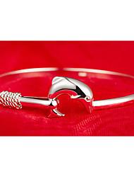 Weimei женская элегантная простота дельфин серебряный браслет