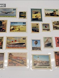 18 piecs album fai da te adesivi di carta d'epoca francobolli album di viaggio a forma di c