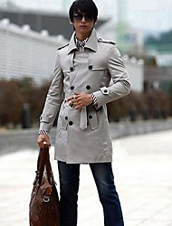 Men's Solid Casual Trench coat,Others Long Sleeve-Black / Yellow / Gray