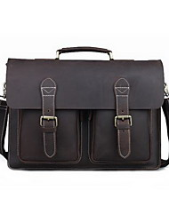 Mens Vintage Briefcase 16'' laptop Messenger schoudertas