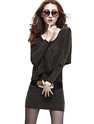 Women's Sexy Fashion Long Sleeve Slim Mini Dress with Belt