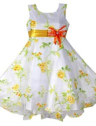 Girl's yellow print wedding pagesmaid princess Dresses