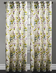 TWOPAGES® Two Panels Contemporary Artistic Ink Painting Style Lonicera Japonica Curtains Drapes