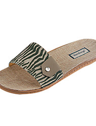 Men's Shoes Casual Linen Slippers Brown/Green
