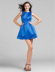 Short/Mini Satin Bridesmaid Dress - Royal Blue Plus Sizes Ball Gown Jewel