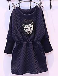 vestido de cuello redondo la cabeza del leopardo del bordado del ocio europeo de niña