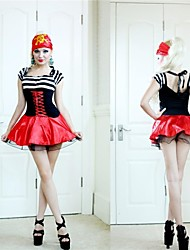 Halloween costume de pirate sexy noir et rouge en dentelle femme adulte