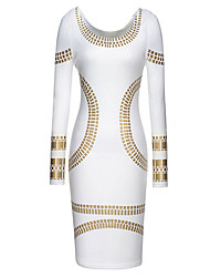 Dolce Women's White Fitted Gold Printed Dress