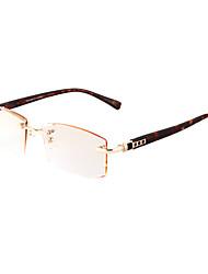 [Free Lenses] Men's Metal Rectangle Rimless Crystal Reading Eyeglasses