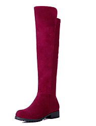 Suede Leather Women's Dress Chunky Heel Knee High Fashion Boot