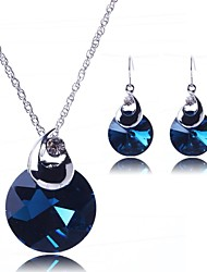 Women's Fashion Simple Round Crystal Jewelry Set(Including Necklaces Earrings)