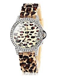 Montre imprimé léopard diamants cas silicone bracelet à quartz de bande des femmes (couleurs assorties)