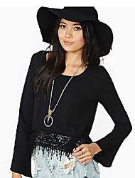 Women's Solid/Lace Black Blouse , U Neck Long Sleeve Lace