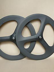 Yanbo 700C 3 ruedas de radios de carbono de 70mm de ancho clincher 19mm para juego de ruedas Track Bike / bicicletas (1 par)