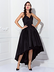 Homecoming Cocktail Party/Prom Dress - Black Plus Sizes Ball Gown Spaghetti Straps Asymmetrical Taffeta