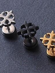 pendientes del perno prisionero europeo de acero de titanio cuadrifolio fash (negro, plata, oro) (1 pc)