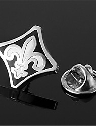 Fleur De Lys Black White Anchor Louis XIII Silver Men's Lapel Pin Emblem Badge