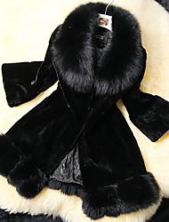 abrigo de piel de imitación midlong gran patio cuello de piel coko