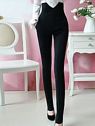 Women's Spring Summer Elastic Fabric Black Pants
