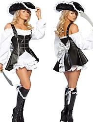 Disfraz de Halloween de la Mujer Naughty Pirata Negro y blanco de poliéster