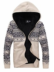 Men's  With Velvet Thickened Hooded Knit Sweater