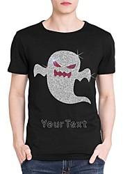 strass personalizado T-shirt do dia das bruxas padrão fantasma mangas curtas de algodão dos homens
