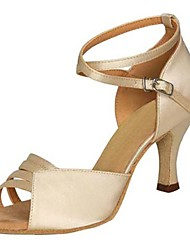 Non Customizable Women's Dance Shoes Latin Satin Stiletto Heel Gray/Other