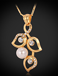 Luxury Women's Pendant Necklace 18K Gold Plated Rhinestone Crystal Pearl Bead Jewelry