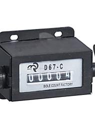 5 dígitos contador de contagem mecânica 38 × 30 milímetros com botão de reset para a fábrica D67-c