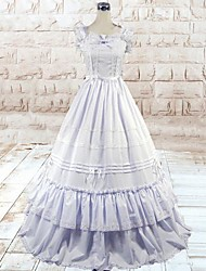 Sleeveless Floor-length White Cotton Silk Gothic Lolita Dress