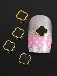 10pcs logotipo cruzamento preto com dourado linha arco arte liga decoração de unhas