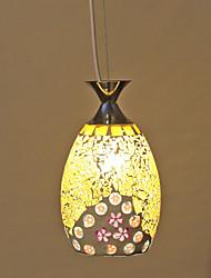 Flora Pattern Yellow Mosaic Glass Pendant