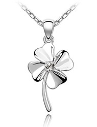 cristal trevo da sorte colar curto clássico revestida com 18k platina verdade clara cristalizada strass cristal austríaco