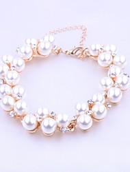 moda elegante diamonade pulseira de pérolas de imitação das mulheres sszp